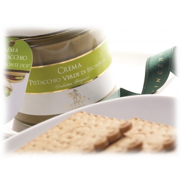 Vincente Delicacies - Sweet Cream Spread with Green Pistachio from Bronte P.D.O. - Artisan Spreadable Creams - 90 g - Crystal