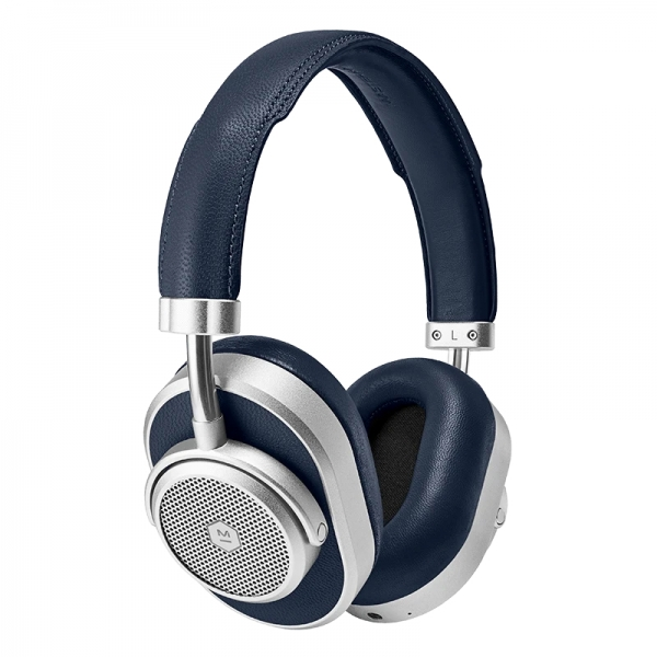 Master & Dynamic - MW65 - Silver Metal / Navy Leather - Active Noise-Cancelling Wireless Headphones - Premium Quality