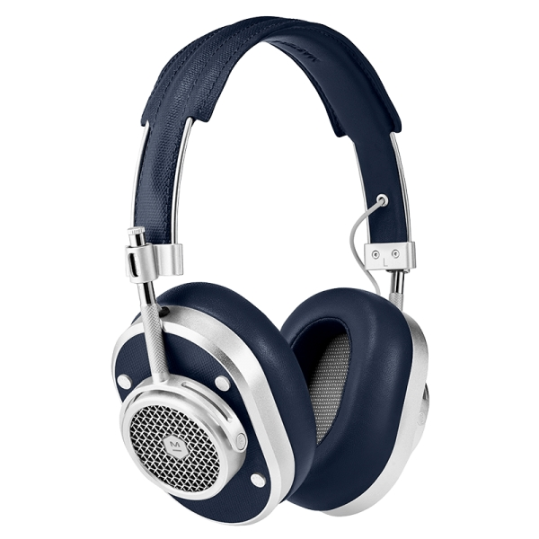 Master & Dynamic - MH40 Wireless - Metallo Argento / Tela Navy - Cuffie Auricolari Premium di Alta Qualità ad Alte Prestazioni