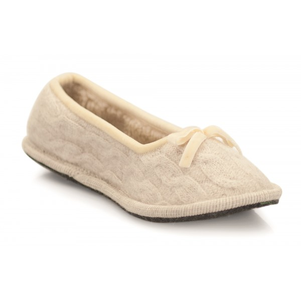 Neck Mate - Asolo - Artisan Woman Slippers - Ballerina in Wool Braided Cotta - Beige