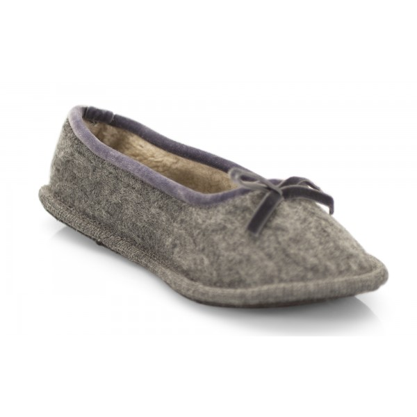 Neck Mate - Asolo - Artisan Woman Slippers - Ballerina in Wool Braided Cotta - Medium Gray
