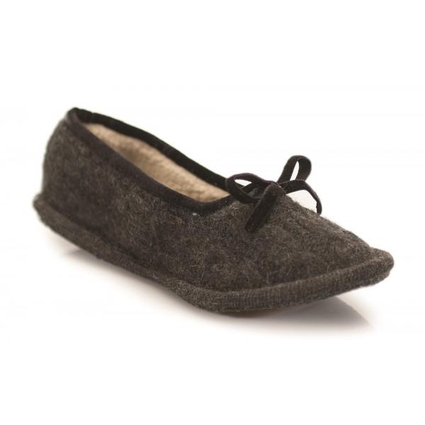 Neck Mate - Asolo - Artisan Woman Slippers - Ballerina in Wool Braided Cotta - Dark Gray