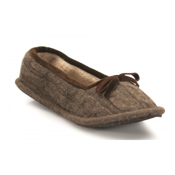 Neck Mate - Asolo - Artisan Woman Slippers - Ballerina in Wool Braided Cotta - Brown