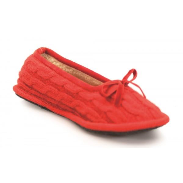 Neck Mate - Asolo - Pantofole Artigianali Donna - Ballerina in Lana Cotta Intrecciata - Rosso