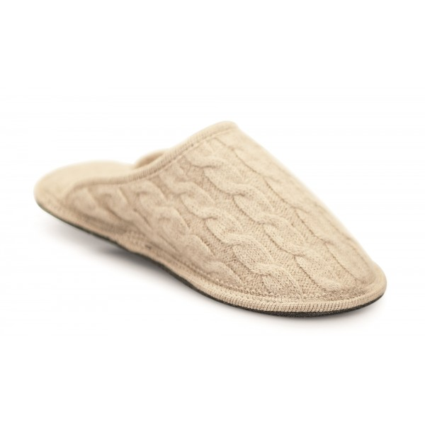 Neck Mate - Asolo - Artisan Woman Slippers - Wool Braided Cotta - Beige