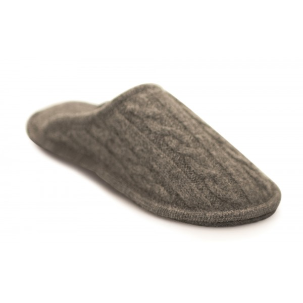 Neck Mate - Asolo - Artisan Woman Slippers - Wool Braided Cotta - Medium Grey