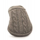 Neck Mate - Asolo - Pantofole Artigianali Uomo - Lana Cotta Intrecciata - Grigio Medio