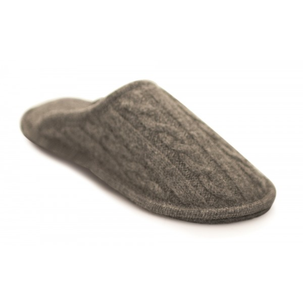 Neck Mate - Asolo - Artisan Man Slippers - Wool Braided Cotta - Medium Grey
