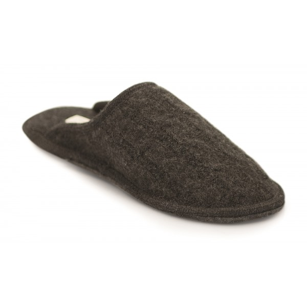 Neck Mate - Asolo - Artisan Man Slippers - Wool Braided Cotta - Dark Grey