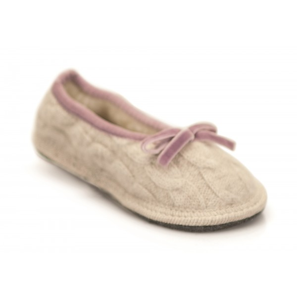 Neck Mate - Asolo - Artisan Girl Child Slippers - Ballerina in Wool Braided Cotta - Beige