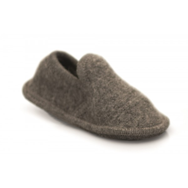 Neck Mate - Asolo - Artisan Child Slippers - Ballerina in Wool Braided Cotta - Medium Grey