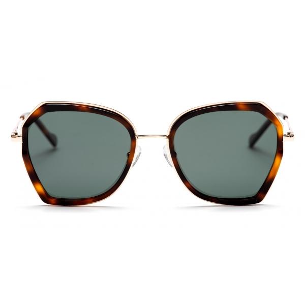 No Logo Eyewear - NOL19007 Sun - Dark Green and Havana -  Sunglasses