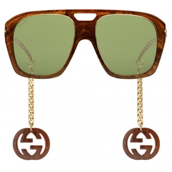 Gucci - Occhiali da Sole Quadrati con Ciondoli - Marrone - Gucci Eyewear
