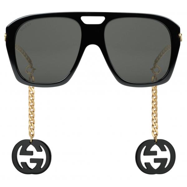 Gucci - Occhiali da Sole Quadrati con Ciondoli - Nero - Gucci Eyewear