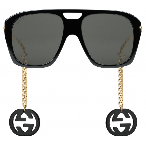 Gucci - Online Exclusive Square Sunglasses with Charms - Black - Gucci Eyewear