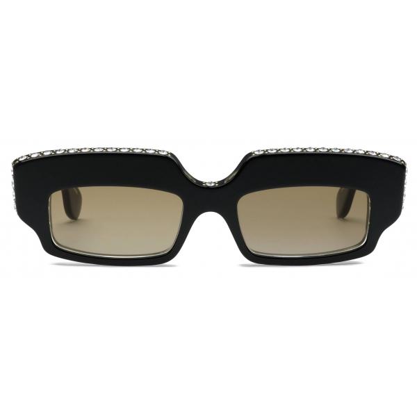 Gucci - Rectangular Sunglasses with Crystals - Black - Gucci Eyewear