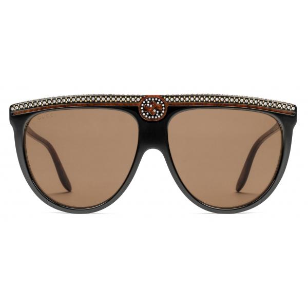 Gucci - Occhiali da Sole Aviator in Acetato con Cristalli - Nero - Gucci Eyewear