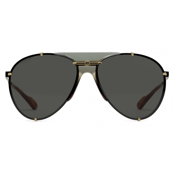 Gucci - Aviator Metal Sunglasses - Gold Grey - Gucci Eyewear
