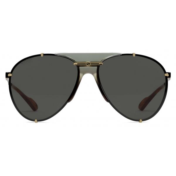 Gucci - Occhiali da Sole Aviator in Metallo - Oro Grigio - Gucci Eyewear