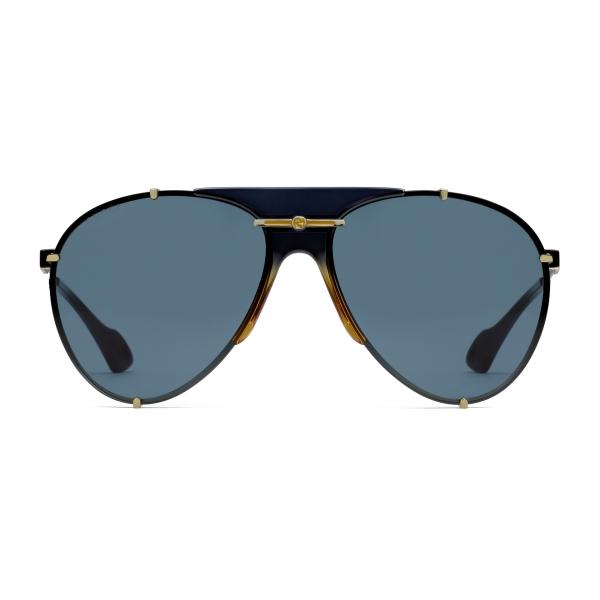 Gucci - Aviator Metal Sunglasses - Gold Blue - Gucci Eyewear