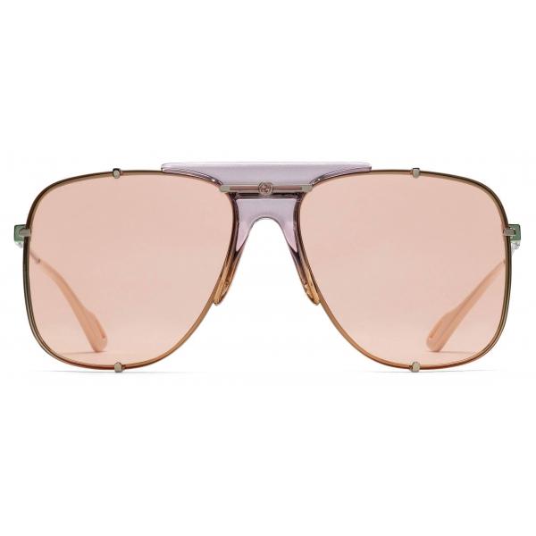 Gucci - Aviator Metal Sunglasses - Gold Lilac - Gucci Eyewear