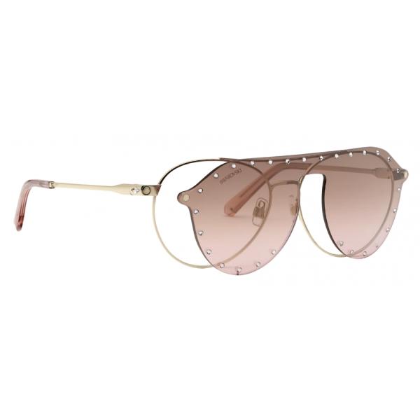 Swarovski - Occhiali da Sole Swarovski con Maschera a Scatto - SK0276-H 54032 - Rosa - Occhiali da Sole - Swarovski Eyewear
