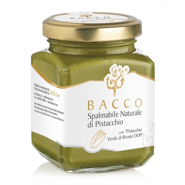 Bacco - Tipicità al Pistacchio - Natural Cream with Pistachio from Bronte P.D.O. - Artisan Spreadable Creams - 190 g