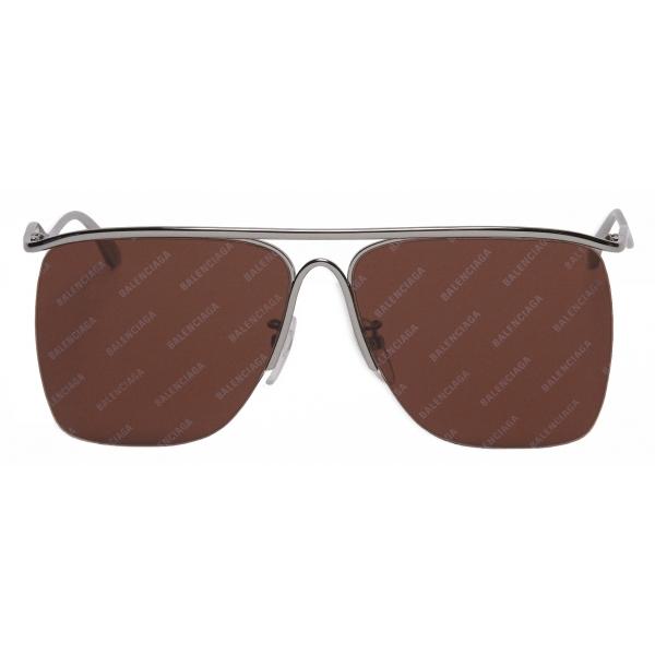 Balenciaga - Curve Navigator Sunglasses - Silver Brown - Sunglasses - Balenciaga Eyewear