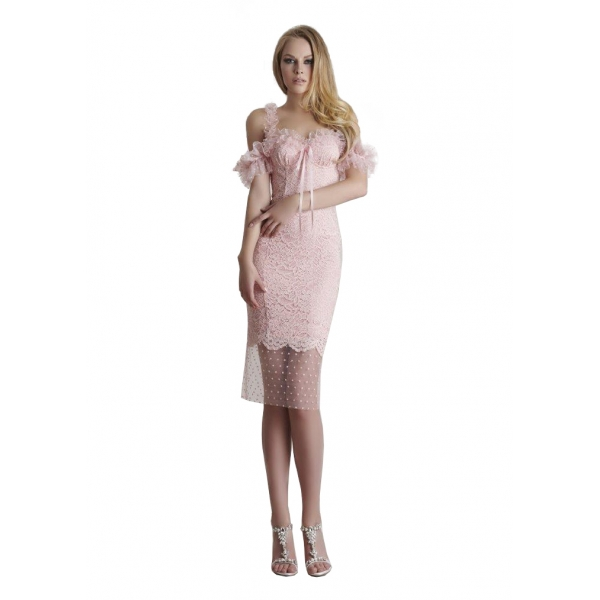 Danilo Forestieri - Sheath Dress with Lace and Tulle - Dress - Haute Couture Made in Italy - Luxury Exclusive Collection
