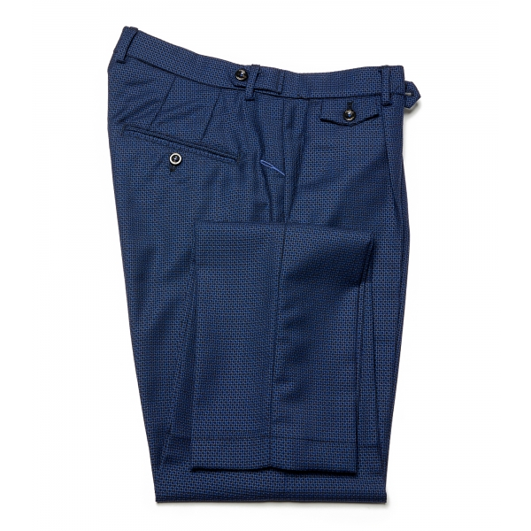 Cruna - Raval Trousers in Fresh Wool - 562 - Navy - Handmade in Italy - Luxury High Quality Pants