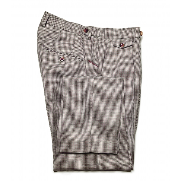 Cruna - Raval Trousers in Wool and Linen - 557 - Moro - Handmade in Italy - Luxury High Quality Pants