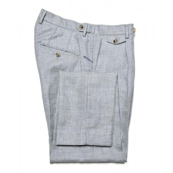 Cruna - Pantalone Raval in Lana e Lino - 557 - Avio - Handmade in Italy - Pantaloni di Alta Qualità Luxury