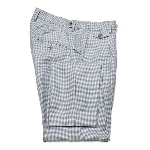 Cruna - Raval Trousers in Wool and Linen - 557 - Avio - Handmade in Italy - Luxury High Quality Pants