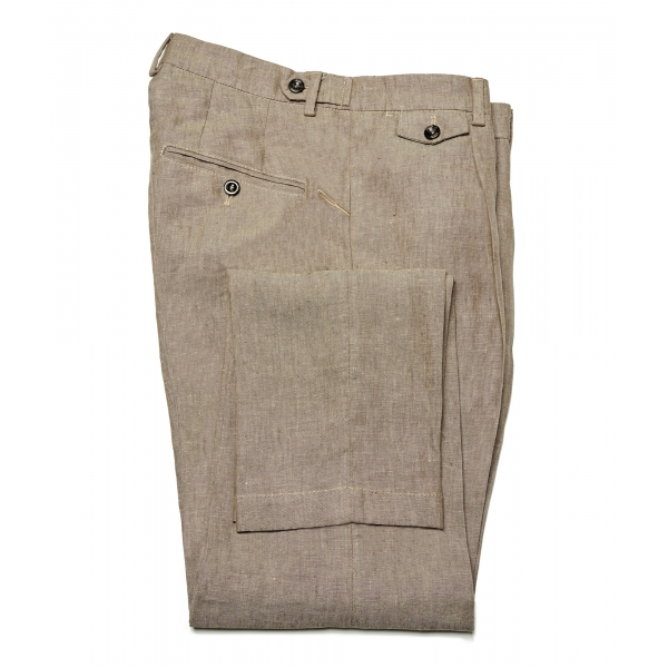 Cruna - Raval Trousers in 100 % Linen - 545 - Moro - Handmade in Italy - Luxury High Quality Pants