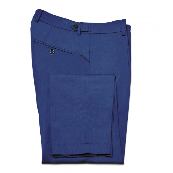 Cruna - Raval Trousers in Cotton - 520 - Avio - Handmade in Italy - Luxury High Quality Pants