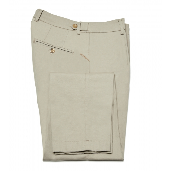 Cruna - Raval Trousers in Cotton - 520 - Beige - Handmade in Italy - Luxury High Quality Pants