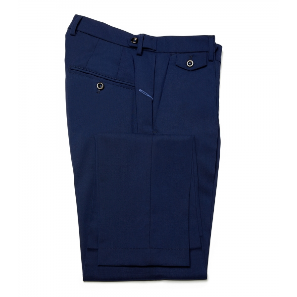 Cruna - Raval Trousers in Fresh Wool - 560 - Navy - Handmade in Italy - Luxury High Quality Pants