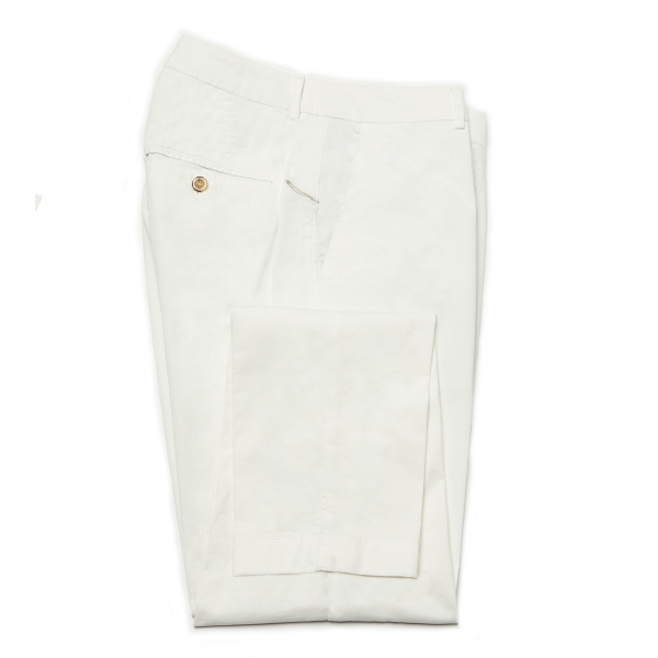 Cruna - Pantalone New Town in Cotone - 522 - Off White - Handmade in Italy - Pantaloni di Alta Qualità Luxury