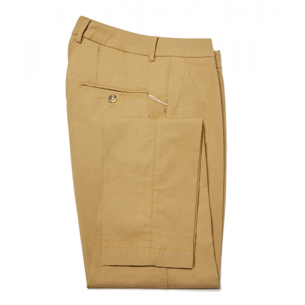 Cruna - New Town Trousers in Seersucker - 521 - Terra - Handmade in Italy - Luxury High Quality Pants