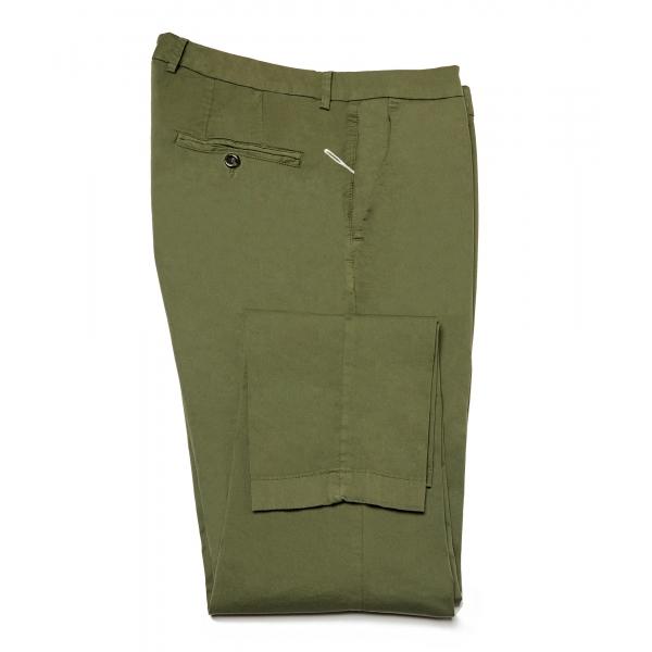 Cruna - Pantalone New Town in Cotone - 520 - Army - Handmade in Italy - Pantaloni di Alta Qualità Luxury
