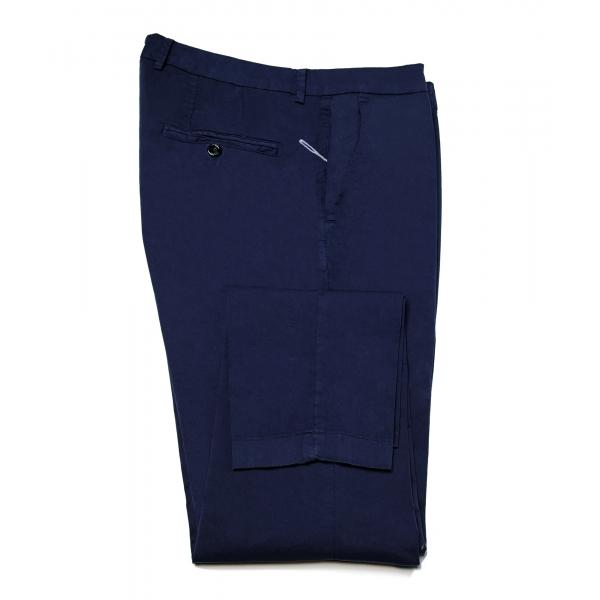 Cruna - Pantalone New Town in Cotone - 520 - Navy - Handmade in Italy - Pantaloni di Alta Qualità Luxury