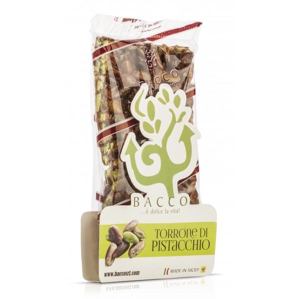 Bacco - Tipicità al Pistacchio - Torrone Duro di Pistacchio di Sicilia - Torrone Artigianale - 100 g