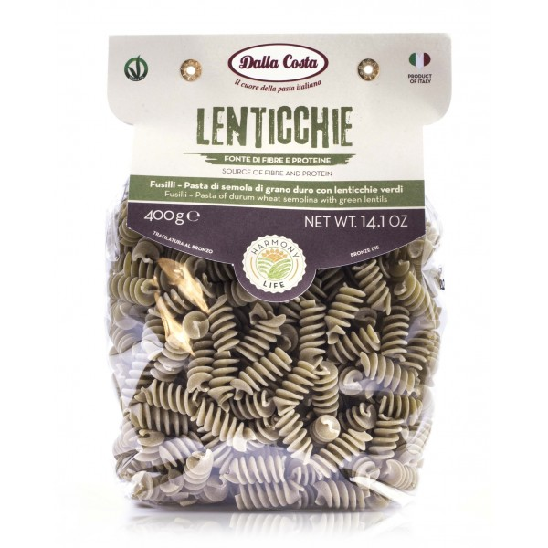 Dalla Costa - Harmony Life - Fusilli with Green Lentils - Vegan Ok