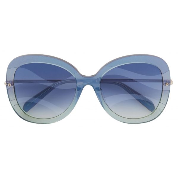 Emilio Pucci - Butterfly Frame Wave-Effect Sunglasses - Blue Green - Sunglasses - Emilio Pucci Eyewear