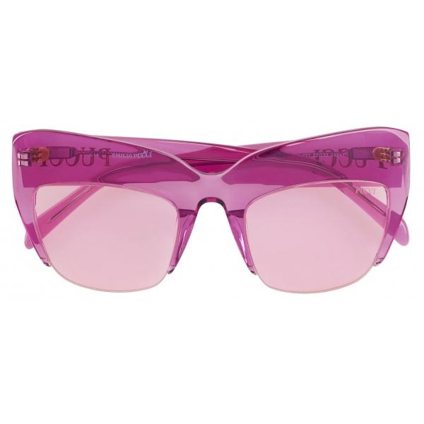 Emilio Pucci - Semi-Rimless Oversized Square Frame Sunglasses - Pink - Sunglasses - Emilio Pucci Eyewear