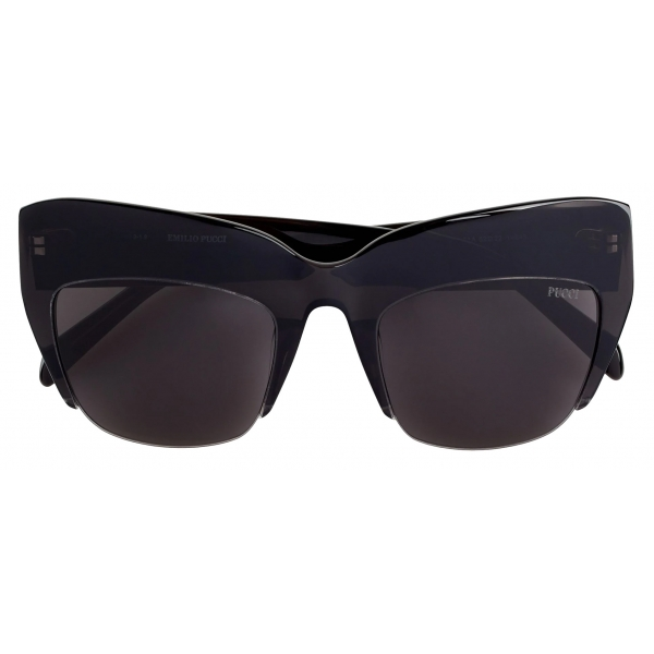 Emilio Pucci - Semi-Rimless Oversized Square Frame Sunglasses - Black - Sunglasses - Emilio Pucci Eyewear