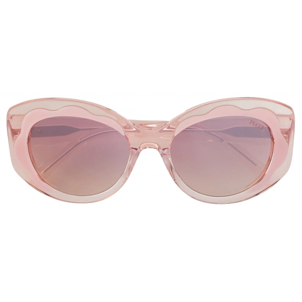 Emilio Pucci - Pink Wavy Motif Round  Sunglasses - Pink - Sunglasses - Emilio Pucci Eyewear