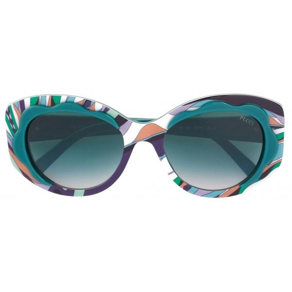 Emilio Pucci - Copacabana Print Round  Sunglasses - Green - Sunglasses - Emilio Pucci Eyewear
