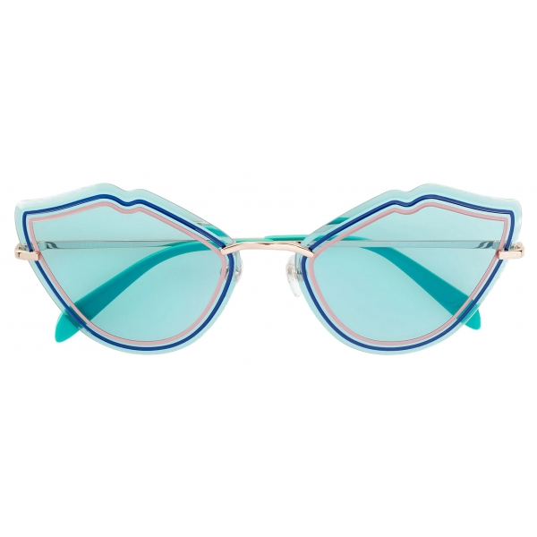 Emilio Pucci - Blue Enamel Embellished Frameless Cat Eye Sunglasses - Blue - Sunglasses - Emilio Pucci Eyewear