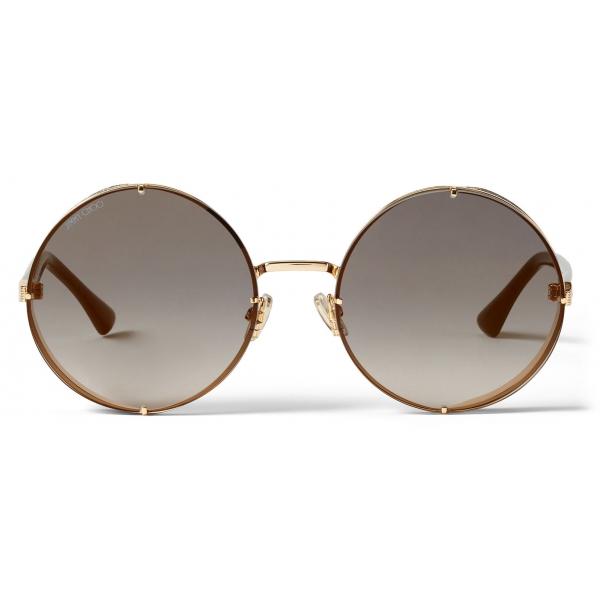 Jimmy Choo - Lilo - Occhiali da Sole Rotondi in Metallo Oro Rosa con Lenti a Specchio Sfumate di Grigio - Jimmy Choo Eyewear